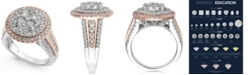 Macy's Diamond Two-Tone Halo Cluster Ring (1-3/4 ct. t.w.) in 14k White & Rose Gold