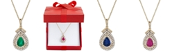 """Macy's  Certified Emerald (3/4 ct. t.w.) & Diamond (1/3 ct. t.w.) 18"""" Pendant Necklace in 14k Gold (Also Available in Sapphire or Ruby)"""