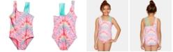 Summer Crush Big Girls 1-Pc. Tie-Dyed Swimsuit