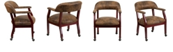 Flash Furniture Bomber Jacket Brown Luxurious Conference Chair With Accent Nail Trim And Casters