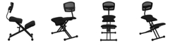 Flash Furniture Ergonomic Kneeling Chair With Back In Black Mesh And Fabric