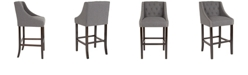 """Flash Furniture Carmel Series 30"""" High Transitional Tufted Walnut Barstool With Accent Nail Trim In Dark Gray Fabric"""
