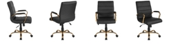 Flash Furniture Mid-Back Black Leather Executive Swivel Chair With Gold Frame And Arms