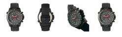 Morphic M36 Series, Black Case Black Leather Band Chronograph Watch, 44mm