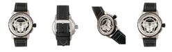 Morphic M61 Series, Silver Case, Black Leather Chronograph Band Watch w/Date, 45mm