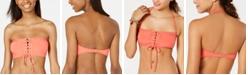 Hula Honey Juniors' Shimmer Rib Lace-Up Bandeau Bikini Top, Created for Macy's