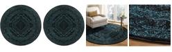 Safavieh Adirondack Black and Teal 6' x 6' Round Area Rug