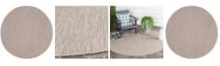"Safavieh Courtyard Beige and Brown 6'7"" x 6'7"" Sisal Weave Round Area Rug"