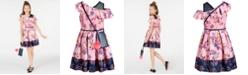 Beautees Big Girls Smocked Border-Print Skater Dress & Charm Purse