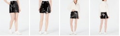 Waisted Patent-Leather Mini Skirt