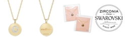 "CHARMBAR Swarovski Zirconia Initial Reversible Charm Pendant Necklace in 14k Gold-Plated Sterling Silver, Adjustable 16""-20"""