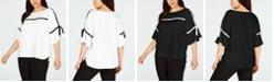 Calvin Klein Plus Size Contrast-Trim Bell-Sleeve Top