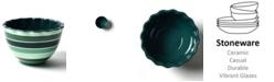 Coton Colors by Laura Johnson Emerald Series Stripe Ruffle Appetizer Bowl