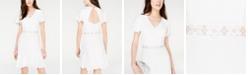 Teeze Me Juniors' Open-Back Lace-Trim A-Line Dress