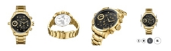 Jbw Men's G3 Diamond (1/6 ct.t.w.) 18k Gold Plated Stainless Steel Watch