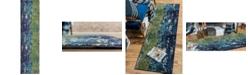 "Bridgeport Home Newwolf New4 Navy Blue 2' 7"" x 10' Runner Area Rug"