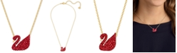 """Swarovski Gold-Tone Red Crystal Swan 14-7/8"""" Pendant Necklace, Created for Macy's"""