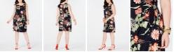 Robbie Bee Trendy Plus Size Floral-Print Faux-Wrap Dress