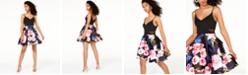 B Darlin Juniors' Printed-Skirt Dress