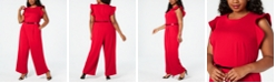 Calvin Klein Plus Size Belted Ruffled Jumpsuit