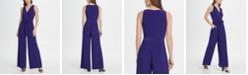 DKNY V-Neck Tie Waist Jersey Jumpsuit