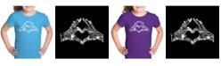 LA Pop Art Girl's Word Art T-Shirt - Finger Heart