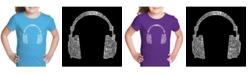 LA Pop Art Girl's Word Art T-Shirt - 63 Different Genres of Music
