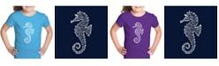 LA Pop Art Girl's Word Art T-Shirt - Types of Seahorse