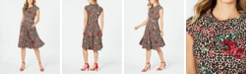 Robbie Bee Petite Mixed-Print Fit & Flare Dress