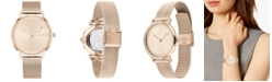 Tommy Hilfiger Women's Rose Gold-Tone Stainless Steel Mesh Bracelet Watch 35mm, Created For Macy's