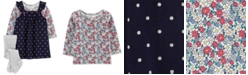 Carter's Baby Girls 3-Pc. Floral-Print T-Shirt, Dot-Print Corduroy Jumper & Footed Tights Set