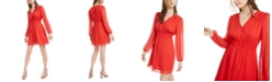 Bar III Smocked-Waist Crinkle Chiffon Mini Dress, Created for Macy's