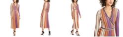 foxiedox Jayden Striped Metallic-Knit Wrap Dress