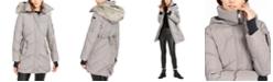 BCBGeneration Plaid Hooded Faux-Fur-Trim Puffer Coat