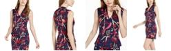 Trina Turk Merlot Printed Peplum Sleeveless Top