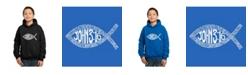 LA Pop Art Boy's Word Art Hoodies - John 3:16 Fish Symbol