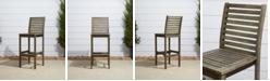 VIFAH Renaissance Outdoor Patio Hand-Scraped Wood Bar Chair
