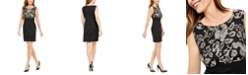 Connected Petite Embroidered & Tiered Sheath Dress