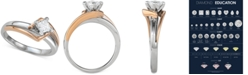 Macy's Diamond Princess Two-Tone Solitaire Engagement Ring (1/2 ct. t.w.) in 14k Gold & White Gold