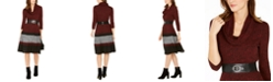 Robbie Bee Petite Colorblocked Sweater Dress with Scarf