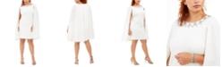 Adrianna Papell Plus Size Rhinestone-Embellished Cape Dress