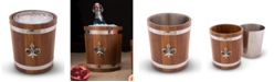 "Vagabond House Teak Wood Ice, Champagne, Wine, Beverage Bucket with Solid Pewter ""Fleur De Lis"" Emblem and Pewter Bands"