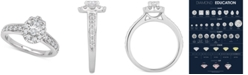 Macy's GIA Certified Diamond Oval Halo Engagement Ring (1 ct. t.w.) in 14k White Gold