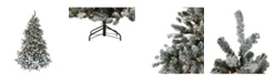 Northlight 7.5' Pre-Lit Flocked Natural Emerald Artificial Christmas Tree - Warm Clear Lights