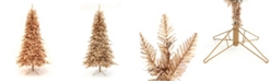 Perfect Holiday 7.5' Pre-Lit Rose Gold Slim Tree with Clear LED Lights