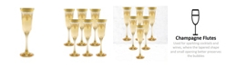 Lorren Home Trends Amber Flutes with Gold Band - Set of 6