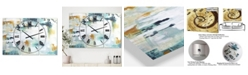 "Designart Teal and White Composition Oversized Modern 3 Panels Wall Clock - 38"" x 38"" x 1"""