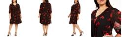 Calvin Klein Plus Size Red Floral Babydoll Dress