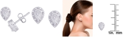 Macy's Diamond 1/10 ct. t.w. Pear Miracle Plate Stud Earrings in Sterling Silver