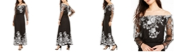 INC International Concepts INC Off-The-Shoulder Floral-Embroidered Maxi Dress